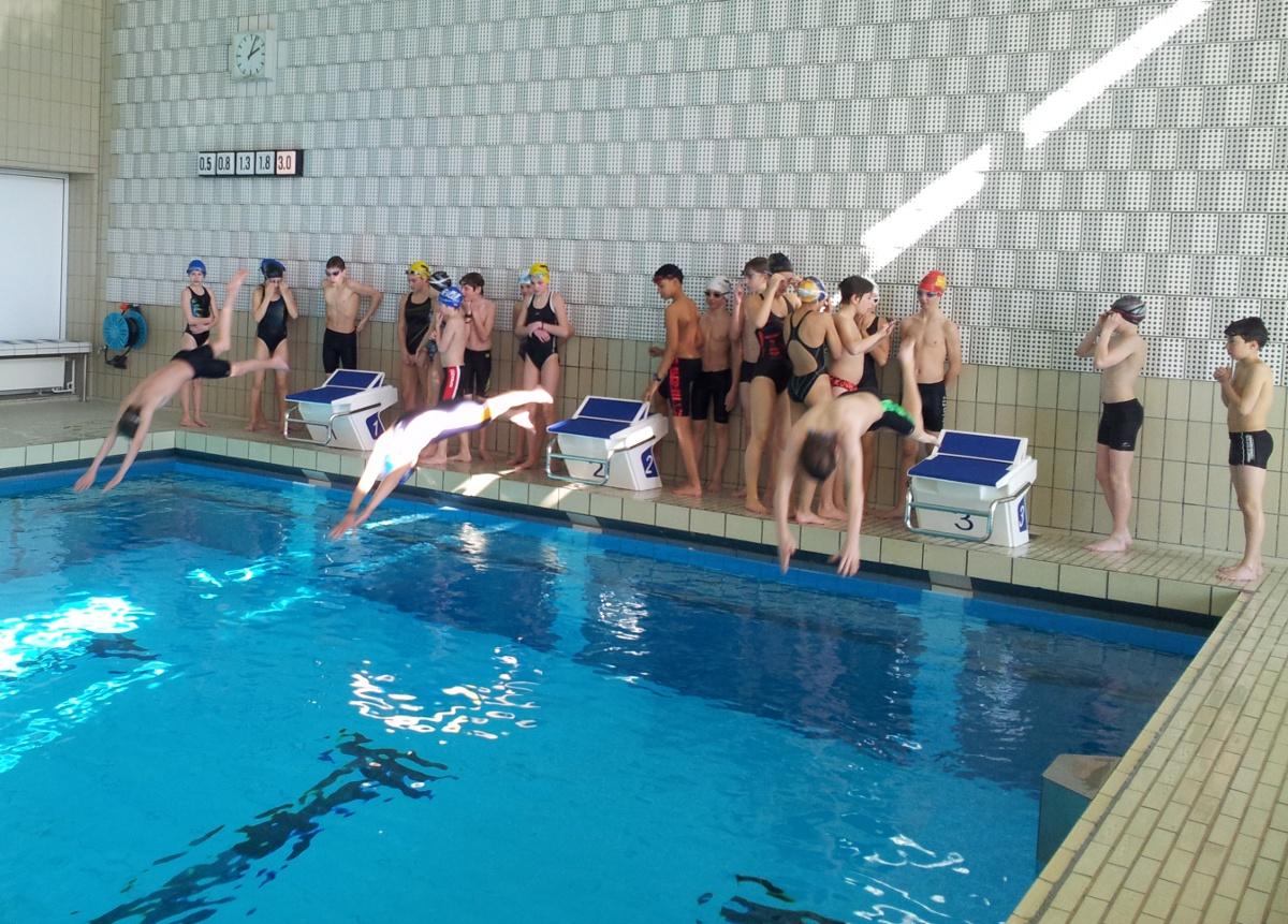 Die Teilnehmer der Talentsichtung beim Schwimmen und der