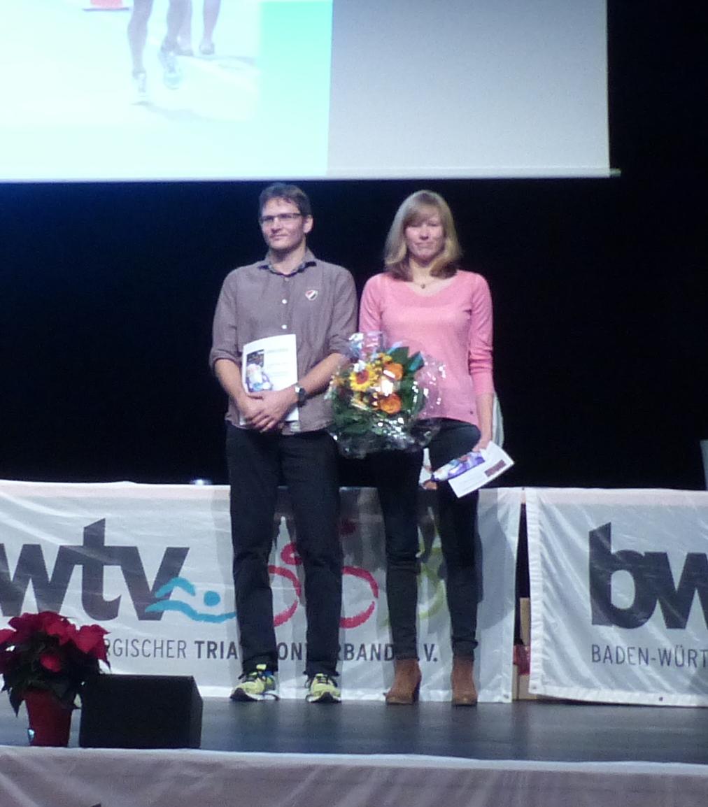 Jens Müller und Stefanier Kuhnert am Sonntag bei der Auszeichnung zum Triathleten/Triathletin des Jahres 2016.