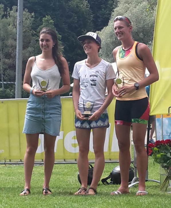 Strahlende Siegerinnen bei den BaWü Sprint in Ravensburg (von links): Kirsi Schmidt (3.), Lena Berlinger (1.), Anne Reischmann (2.). (Foto: Schmidt)